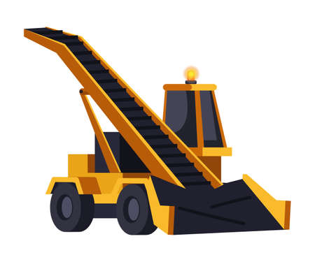 Snow removal tractor with transportation line, yellow conveyor excavator isolated on white. Machine for work and clean street, road in winter. Special municipal transporter. Vector illustration