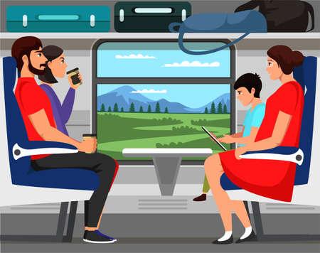People train passengers characters scene flat set