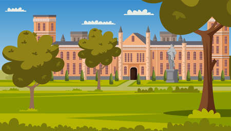 University facade and green campus park scene