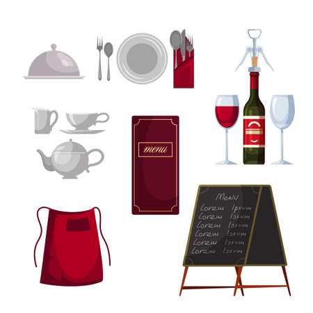Kitchenware menu for serving restaurant table set