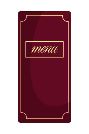 Red menu restaurant paper book isolated on white