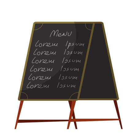 Restaurant menu black board isolated on white