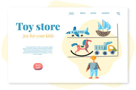 Flat landing page advertising toy store baby shop Иллюстрация