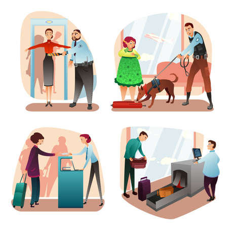 Check-in and security people scenes cartoon set