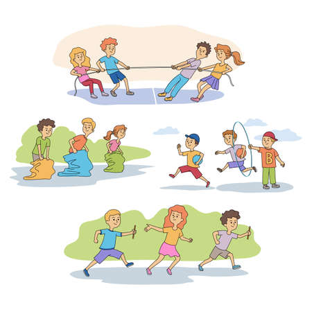 Sport games for children characters scenes set