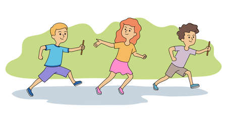 Children athletes running competitive relay race