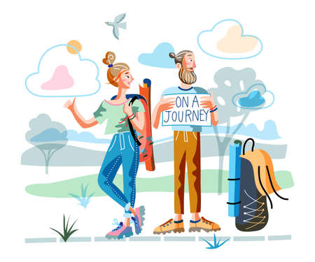 Happy man and woman traveler hitchhiking. Family hipster couple young tourists with backpacks trying catch car on road. Holidays adventure, tourism, travelling. Vector cartoon flat illustration