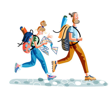 Cartoon man and woman travelers rushing. Young happy hipster couple tourists crossing main street road. Female holding paper map to find destination place. Lots of flat road signs. Vector illustration