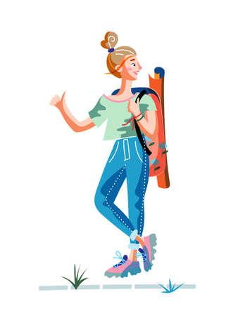 Happy woman traveler hitchhiking. Hipster young tourist with backpack trying catch car on road. Holidays adventure, tourism, travelling. Vector cartoon flat illustration