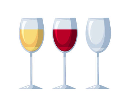 Wineglasses with white, red wine and empty one set isolated on light background. Winery degustation testing. Waiter and sommelier service. Design for bar, restaurant, winecellar. Vector illustration