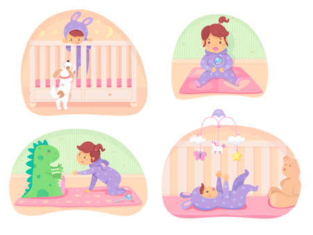 Cartoon cute little baby in different situations vector scenes set. Infant playing with puppy mobile toys, soft dragon and teddy bear, beanbag in flat bed. Newborn boy or girl illustration