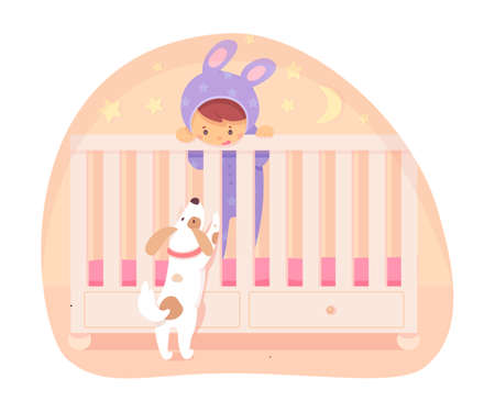 Little baby in jumpsuit with long cute hare ears standing in bed and playing with funny curious puppy. Happy newborn boy or girl in crib. Vector flat cartoon small character cutout illustration