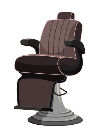 Modern comfortable barbershop equipped seat with chair isolated on white. Man beauty hairdressing salon furniture. Workplace design interior. Vector flat cartoon illustration