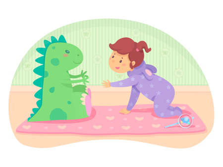 Little cute baby girl in jumpsuit crawling to big green toy dragon. Pink mat and beanbag on bedroom floor. Infant games. Playing with soft animal. Vector flat cartoon cutout illustration