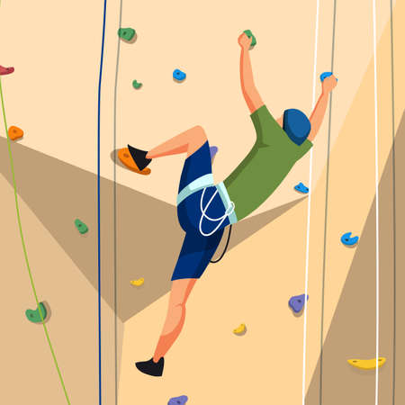 Young man character in sportswear with rope training on climbing rock wall. Extreme sportsman. Tough and healthy discipline. Adventure park. Vector cartoon flat illustration