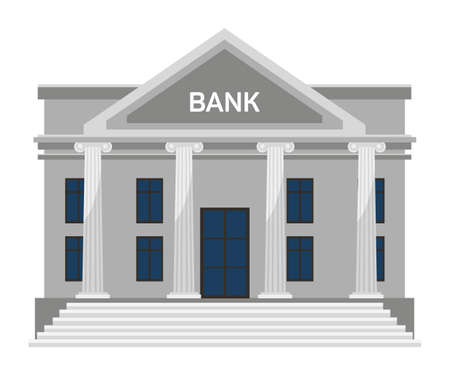 Flat bank building facade with columns, stairs, roof, windows and door isolated on white. Architecture front view. Governmental institution construction exterior. Vector cartoon illustration