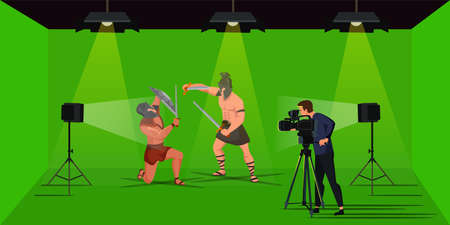 Cameraman shooting video scene with romans warrior actors. Film studio production. Cinematography and movie making. Green stage prepared for decorations creation. Vector cartoon flat illustration