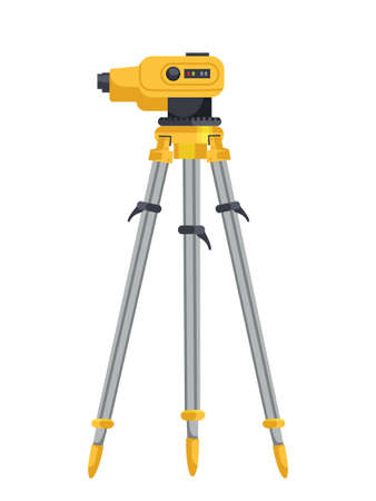Professional laser level on tripod on white. Geodetic optical measuring device. Engineering instruments and tools for industrial construction and building works. Vector flat cartoon illustration