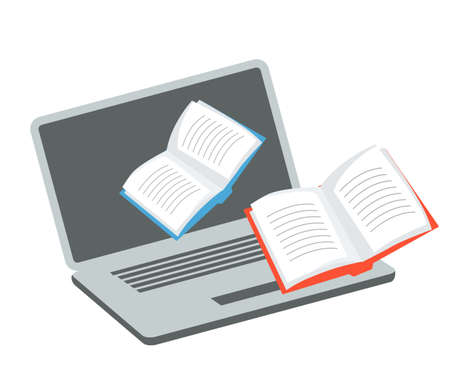 Media content for receiving online education. Application cartoon icon. Opened laptop and paper books. E-learning. Ebooks storing and searching. Digital learning via internet. Vector flat illustration Foto de archivo - 150264453