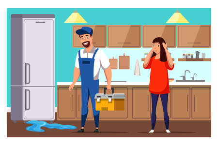 Housewife and repairman with tools box on kitchen near broken fridge. Leakage on floor. Home appliance repair service. Master call. Serviceman repairing broken refrigerator. Vector illustration Illusztráció