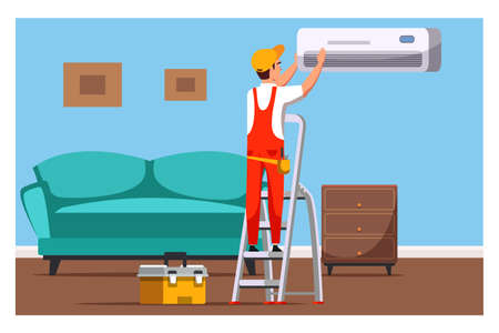 Professional air conditioners service, maintenance, installation and repair. Cartoon master electrician working with home appliance in living room. Ladder, tools box. Vector illustration