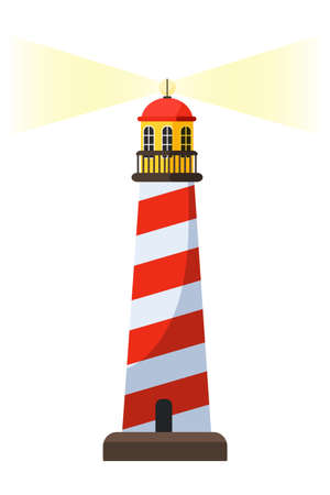 Lighthouse vector cartoon illustration. Coast tower isometric clipart. Navigational aid for sailors. Marine stripe building, lantern room structure. Searchlight safety signal. Isolated design element