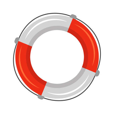 Marine red white solid saver flotation ring, life buoy in torus shape with rope for help, assistance, save life in sea. Survival in ocean. Safety floater item. Front view. Vector nautical illustration