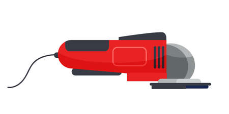 Grinding machine flat vector illustration. Red handheld power tool isolated clipart on white background. Automated angle grinder. Factory machinery. Construction equipment design element Illusztráció