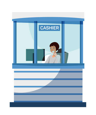 Female bank cashier character sitting at cash department window. Friendly smiling woman working at computer. Financial operation, money transaction via internet. Vector cartoon illustration Vettoriali