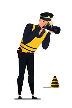 Criminalist photographing evidence. Man in uniform examining crime scene. Person character with camera and striped road cone isolated on white. Forensic specialist. Policeman. Vector illustration