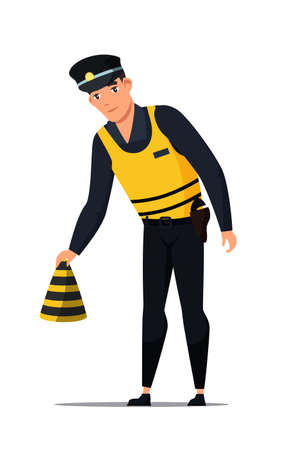 Policeman in uniform with gun on belt puts striped cone on road at crime scene. Cartoon police officer standing isolated on white. Murder investigation. Primary examination. Vector illustration