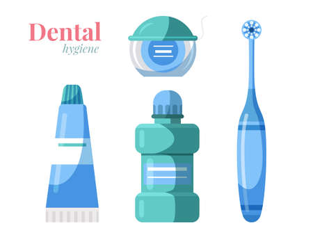 Dental oral hygiene products set isolated on white. Toothbrush, toothpaste, mouthwash, floss. Healthy lifestyle and stomatology. Toothcare objects. Healthy teeth. Vector flat cartoon illustration