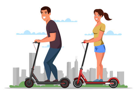 Friendly smiling man woman on electric scooters. Happy couple prefer eco transportation. Cartoon city landscape. Active lifestyle. People enjoying futuristic e-scooter ride. Vector flat illustration