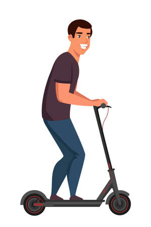 Friendly smiling man on electric scooter. Happy male prefer eco transportation. Active lifestyle. Boy enjoying futuristic e-scooter ride. Vector flat illustration Çizim