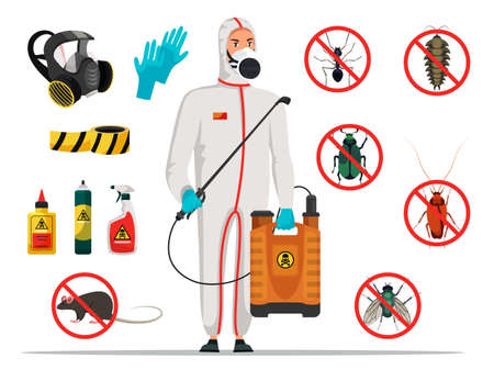 Insectologist disinfector and equipment vector set. Worker character in protective mask and suit. Icons signs with insects. Decontamination tools items. Disinfection pest control flat illustration Illustration