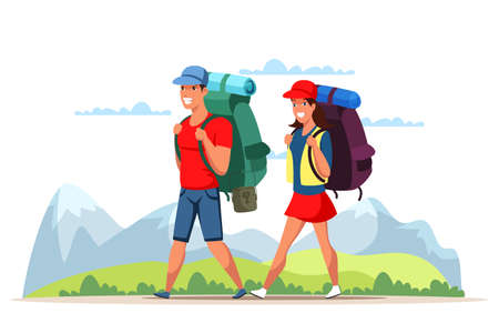 Young man and woman couple tourists with poles backpacks travelling in mountains. Climbing, trekking, hiking, walking, camping. Adventures on nature. Sports and healthy lifestyle. Vector illustration
