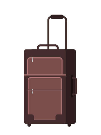 Cartoon flat brown suitcase with handle on small wheels. Luggage travel bag isolated on white. Travel and tourism theme. Business and family vacation. Holidays voyage. Vector illustration