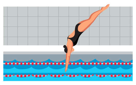 Young sportswoman in swimsuit jumping in flat cartoon pool. Diving swimming competition. Swimmer taking part in tournament. Water sport. Practicing and training. Vector cutout illustration