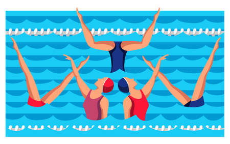 Woman athlete on synchronized swimming performance in gym pool. Girls team performing art elements and stunts. Professional water sport dance competition. Vector cartoon flat illustration