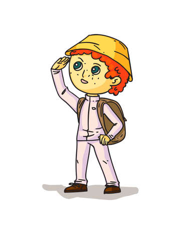 Cartoon boy hiker with backpack on white