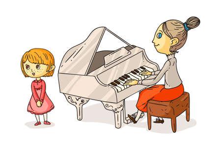 Little girl singing song and teacher plating piano Illusztráció