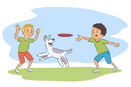 Boys and dog playing with flying disc cartoon