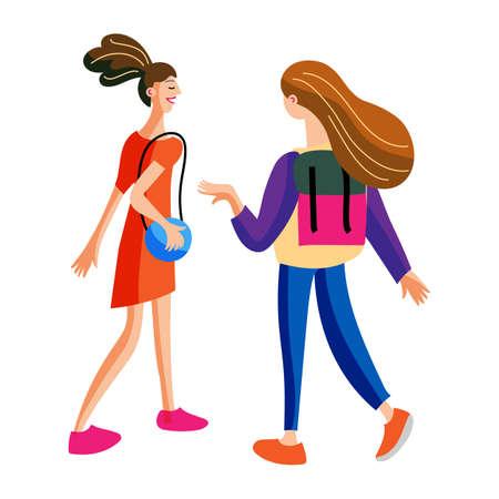 Teenage girls friends having nice conversation Ilustração