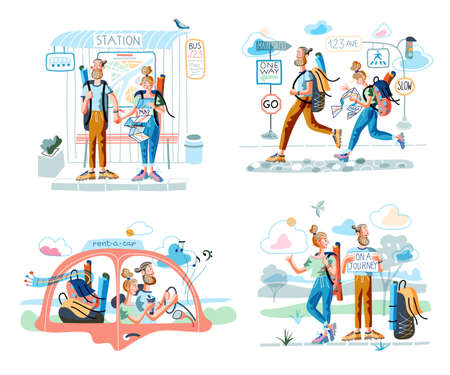 Cartoon travelers in different situation scene set. Man and woman couple stand on bus station, car, hitchhiking catch car, drive rent automobile, follow path on map. Vector flat illustration Illusztráció