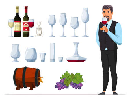 Man sommelier and drink degustation cartoon set Ilustracja
