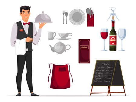 Waiter with service and serving accessories set Иллюстрация