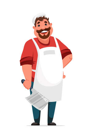 Friendly smiling butcher man standing on white Иллюстрация