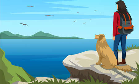 Woman traveler with dog on cliff top looking at water surface admires birds flying in sky. Picturesque nature landscape. Beautiful scenery from mountain peak. Vector wonderland illustration 向量圖像