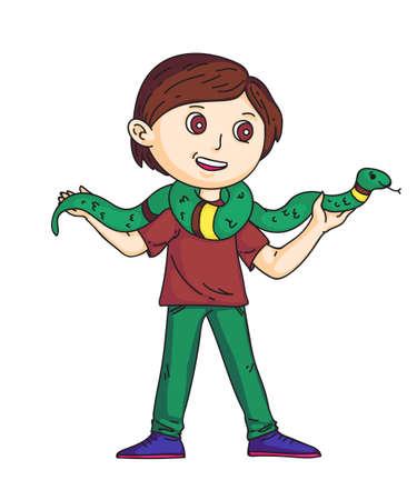 Schoolboy holding snake on shoulders on white
