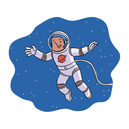 Happy smiling boy astronaut on outer cosmic space